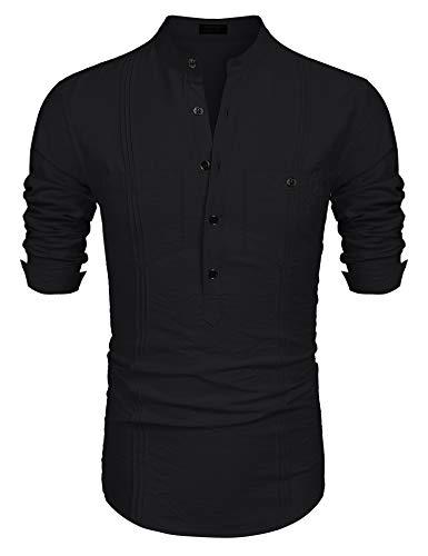 COOFANDY Men's Cotton Linen Henley Shirt Long Sleeve Hippie Casual Beach T Shirts ()