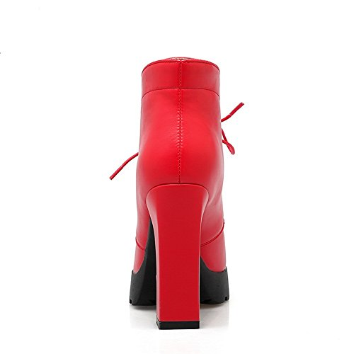 Red Bandage Leather Girls Platform Chunky Boots Heels Imitated 1TO9 Zx8RTqwF