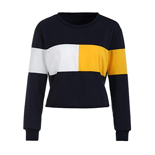 Dressin_Women's Long Sleeve Clearance Printing Patchwork Sweatshirt Short Pullover Tops Blouse