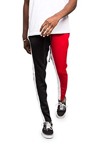 G-Style USA Men's Two Tone Color Blocked Track Pants TR544 - Red/Black - Small - A1B