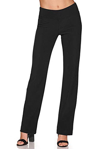 (Boston Proper Women's Wrinkle-Resistant Straight-Leg Knit Solid Color Pant Jet Black X Large Regular)