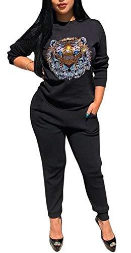 iece Tracksuit - Pullover Hoodies Sweatpants Sports Floral Print Tracksuit Jumpsuit Set Black XXL ()