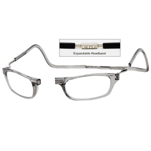 CliC +2.0 Diopter Magnetic Reading Glasses: Expandable - Smoke by MAGNIFYING AIDS
