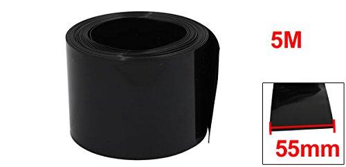 sourcingmap 55mm Flat Width 5M Length PVC Heat Shrinkable Tube Black for AAA Batteries
