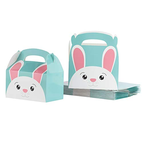 Paper Treat Boxes - 24-Pack Easter Bunny Gable Boxes for Party Favors, Cookies, Candies, Goodie Gift Loot Boxes for Easter Decorations, Girls Birthday Party Supplies, Cyan, 6.2 x 3.6 x 6.1 Inches ()