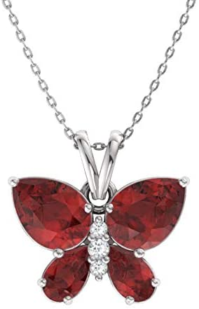 Diamondere Natural and Certified Gemstone and Diamond Butterfly Necklace in 14k White Gold   1.04 Carat Pendant with Chain