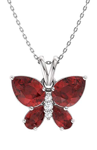 Diamondere Natural and Certified Garnet and Diamond Butterfly Petite Necklace in 14k White Gold | 1.11 Carat Pendant with -
