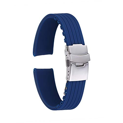 KZFashions Waterproof Sports Universal Tire Tire Tread One Over Silicone Watch Strap (20mm, Blue)