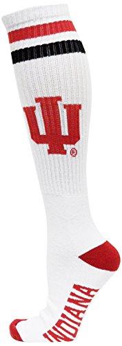 NCAA Indiana Hoosiers White Tube Socks, One Size, Red