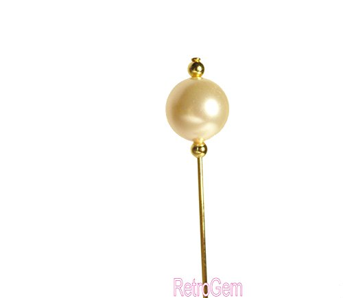 RetroGem 12mm Pearl Gold Tone Hat Pin Made with Swarovski Elements Pearl (Cream)