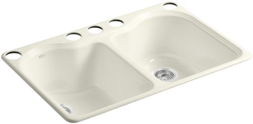 - KOHLER K-5818-5U-96 Hartland Double Equal Undercounter Sink with Five-Hole Faucet Drilling, Biscuit