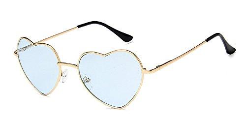 XFentech Soleil de UV400 Retro Coeur Cadre pour Femmes Couleur Transparent Gradient En Or Lunettes Forme Mode Les Bleu rCwFqn8r