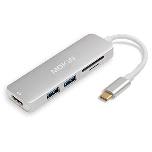 USB C Hub HDMI Adapter for MacBook Pro 2019/2018/2017, MOKiN 5 in 1 Dongle USB-C to HDMI, Sd/TF Card Reader and 2 Ports USB 3.0 (Silver)