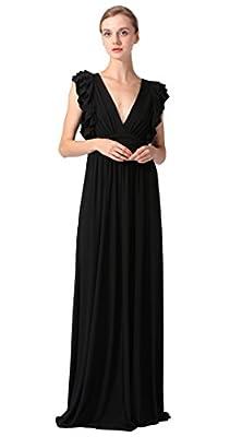 Lacle Women V-Neck Adjustable Ruched Waist Formal Long Evening Dress
