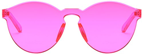 RTBOFY One Piece Rimless Sunglasses Transparent Candy Color Eyewear (rose - Red Rose Sunglasses