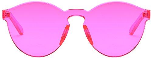 RTBOFY One Piece Rimless Sunglasses Transparent Candy Color Eyewear (rose - Transparent Sunglasses
