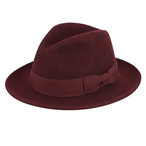 Men's Premium Milano Wool Felt Fedora Grosgrain Band Hat (S/M, A - Hat Wool Felt Band