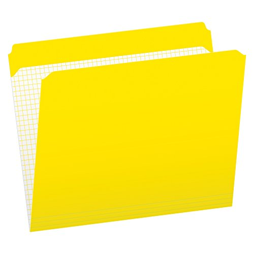 Pendaflex Color File Folders with Interior Grid, Letter Size, Yellow, Straight Cut, 100/BX (R152 YEL)