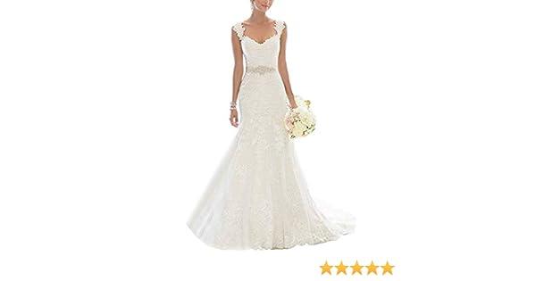 Vestido de novia de Encaje de Las Mujeres Ailin Home (Color : Blanco, Tamaño : XXL)