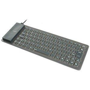 Black Adesso Flexible Mini Waterproof Keyboard , 85 Keys, USB with PS