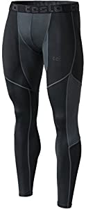Tesla Men's Mesh-Panel Compression Pants Baselayer Cool Dry Sports Tights Leggings TUP109 / MUP79