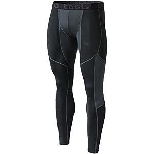 TM-MUP79-BKH_Large Tesla Men's Mesh-Panel Compression Pants Baselayer Cool Dry Sports Tights Leggings