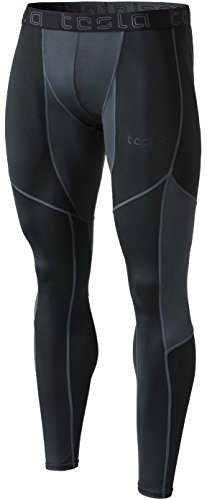 TSLA Men's Compression Pants Running Baselayer Cool Dry Sports Tights Leggings, Mesh(mup79) - Black & Charcoal, Medium