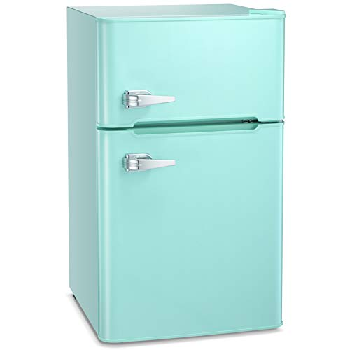 Joy Pebble Compact Double Door Refrigerator and Freezer, 3.2 cu.ft Freestanding mini Fridge Suitable for Office, Dorm or Apartment with Adjustable Removable Glass Shelves (Green)