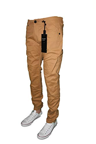 Mens Skinny Jeans Slim Stretch FIT Slim FIT Trouser Pants Fashion Casual (Wheat, 32X30)