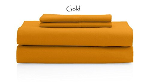 Rajlinen Gold Solid 4 PCs Bed Sheet Set Queen Size 1000-Thre