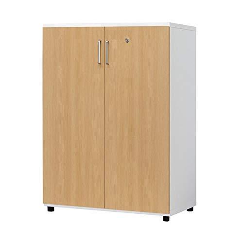オフィス収納関連 おしゃれ 白井産業 木製棚扉付 H1114mm ナチュラル   B07RZNDJNN
