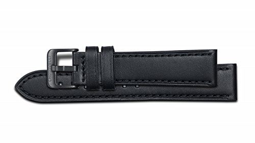 Chotovelli Black Genuine Leather Stainless Steel Pin Buckle Watch Band Strap