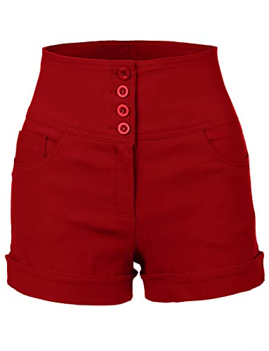 RubyK Womens High Waisted Sailor Shorts with Stretch,Rbkwb1173_red,Large