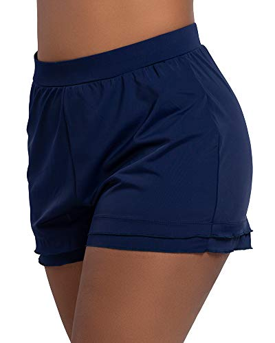 KEEPRONE Women's Plus Size Swim Shorts Swimsuit Bottoms Swimwear Board paired Bikini Tankinis Blue