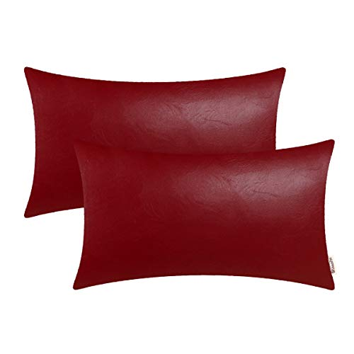 BRAWARM Cozy Bolster Pillow Covers Cases for Couch Sofa Bed Solid Faux Leather Soft Lumbar Cushion Covers Durable Pillowcase Home Decoration Accent Both Sides 12 X 20 Inches Deep Red Pack of 2 ()