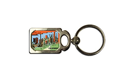Greeting From Pueblo, Co One Side Framed Metal Key Chain from Style in Print
