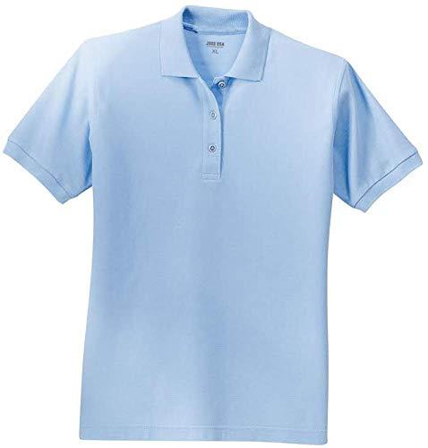 (Joe's USA Ladies Short Sleeve Polo Shirt-Light Blue-XL)