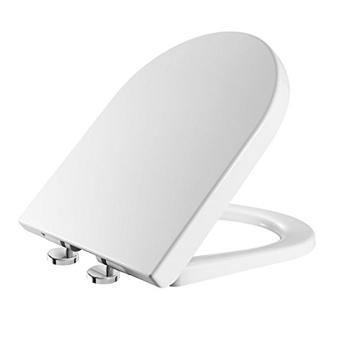 Toilet Seat Soft Close Quick Release D-Shaped White 'UF'...