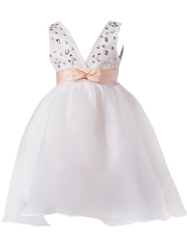 Dressystar Sparkling Flower Girl Dress Lovely kids Communion Party Dress With Bow tie Size 8 White (Kids Fancy Dress Next Day Delivery)