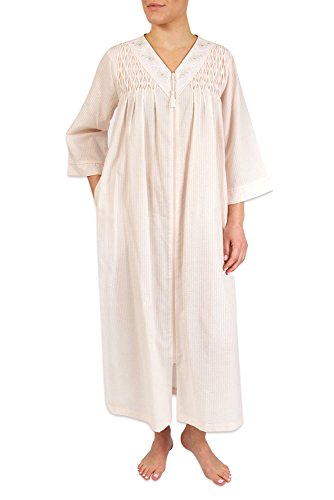 Heavenly Bodies Seersucker Robe, Long Coverup With Soft Lightweight Fabric For Spring and Easy On Full Zipper ()
