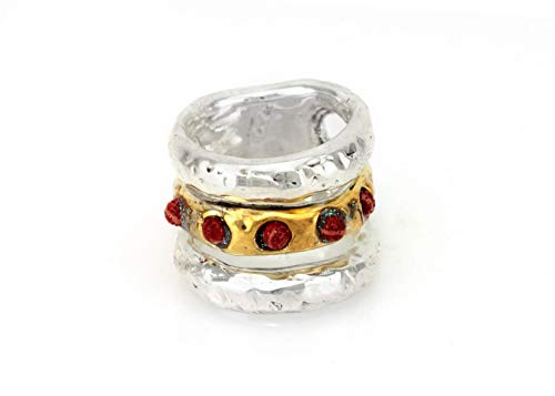 Handmade Sterling Silver and 24K Gold Plated Unique Large Bohemian Ring for Women, Statement Chunky Multistone Band, Bold & Wide Sculptured Band Inlaid with Red Coral, Size US 8 ()