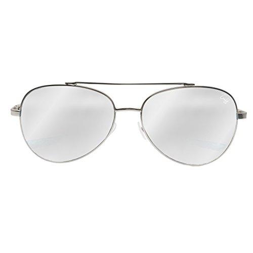 Tuff Sunglasses - Monaco - Mirrored Aviator Flat Lens Metal Frame Oversized Aviator Sunglasses 59MM (Silver - Sunglasses Monaco