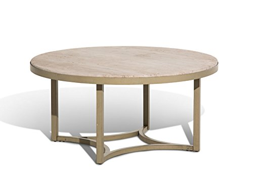 Michael Amini FS-ALTA204 Alta Round Cocktail Table with Travertine Marble Top