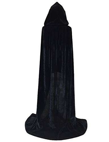 Beauty Moon Velvet Cloak with Hood, Cape Hooded for Womens Mens Halloween Cosplay Costume(Large,Black) -