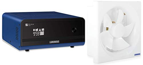Luminous Zelio+ 1100 Home Pure Sinewave Inverter UPS & Luminous Vento Deluxe 9 Inch (200 mm) Blade Size Exhaust Fan for… 2021 June Product 1: Maximum bulb load - 756 watt, capacity – 900 VA; Running Load :- 3 CFL, 3 Tube light, 3 Ceiling Fan, 1 Television, 1 air Cooler Product 1: Automatic temperature control via fan. 32-bit processor Product 1: Protection: Overload, deep discharge, short-circuit, Reverse polarity & Input mains protection through MCB.