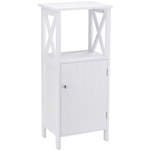 "16"" White Storage Floor Cabinet Bathroom Organizer w/Shelfs"