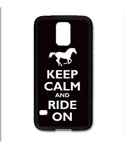 Samsung Galaxy S5 SV Black Rubber Silicone Case - Keep Calm and Ride and Ride on Horse horseback riding