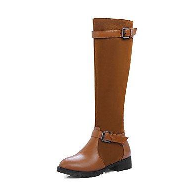 EU41 Botas 5 Moda Zapatos Montar Polipiel US9 Oscuro De Mujer UK7 Negro Hebilla Rodilla De 5 8 CN42 Invierno Botas Marrón Altas 10 RTRY Botas Azul Botas Puntera Redonda Casual De SFwXYqx
