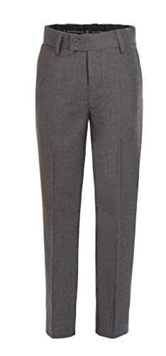 (RGM Boys Dress Pants Flat-Front Slim fit - Poly Rayon Slacks Giovanni Uomo Grey)
