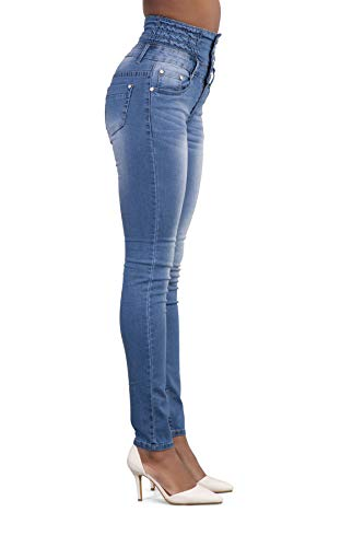 Bottoni con Vita Azzurro Casual Pants Donna Matita Moda Pantaloni Pantalone Skinny a Denim Jeans Alta Onlyoustyle Lungo qAYH0ww